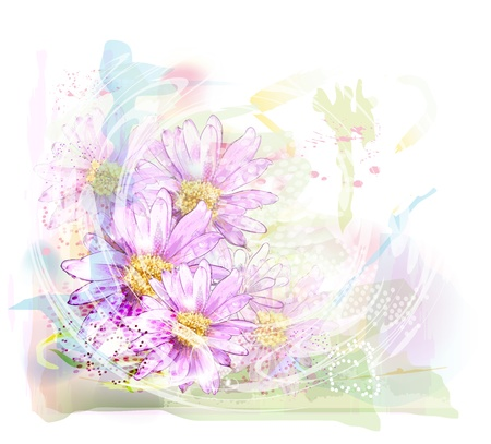 aquarelle painting art: watercolor background with chrysanthemums