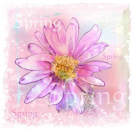 pink flower with dew drops Vector