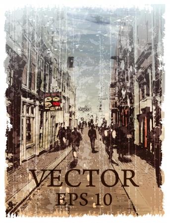 Illustration of city street. Watercolor style.  イラスト・ベクター素材