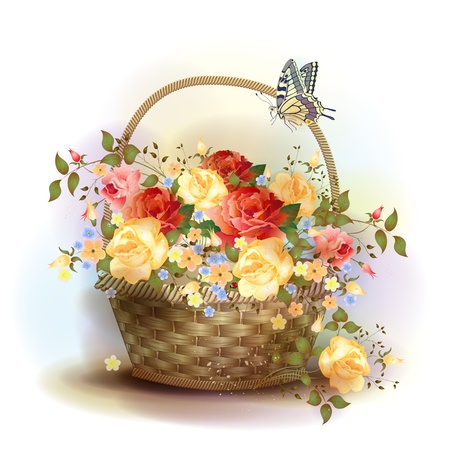 Wicker basket with roses. Victorian style. Vector