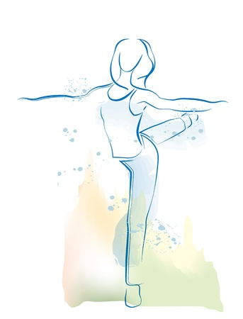 abstract dance: outline illustration of dancing girl