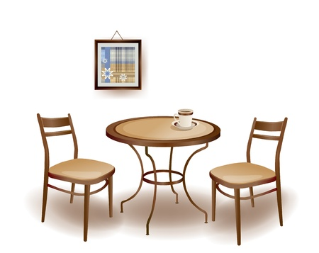 wood chair: illustration  of the round  table and chairs