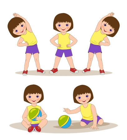 little girl doing morning exercises Vector