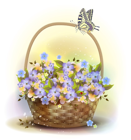 bast basket: Wicker basket with violets. Victorian style.
