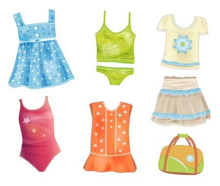 夏用の服の女の子のためのセット