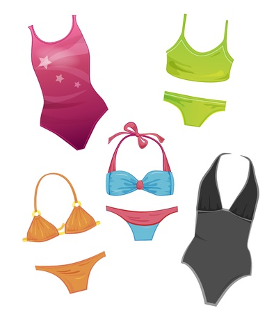 cartoon bathing: set of the swimsuits for girls Illustration