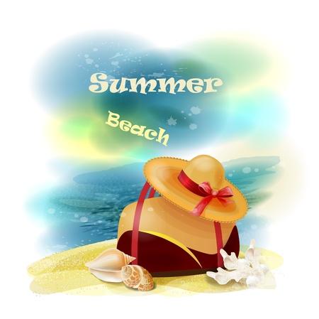 sombrero de paja: Hermosa vista al mar en un d�a soleado con el bolso, conchas y sombrero de paja