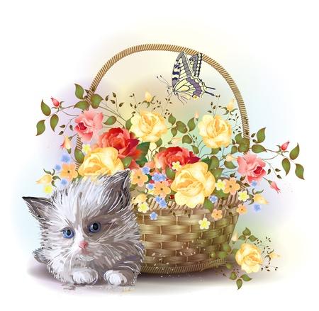 Illustratie van de pluizige kitten en de mand met rozen