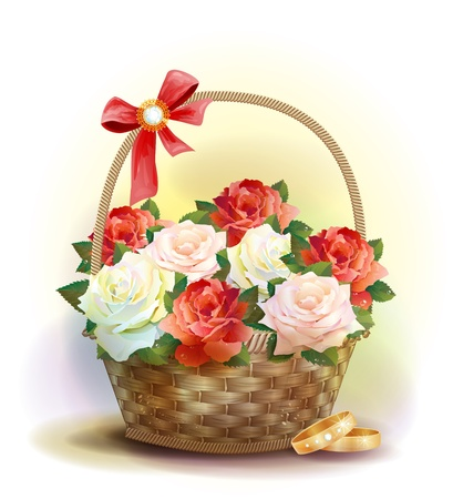Wedding card.    Rings and  wicker basket  with roses. Vector