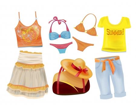 set of summer clothes for girls Ilustração Vetorial