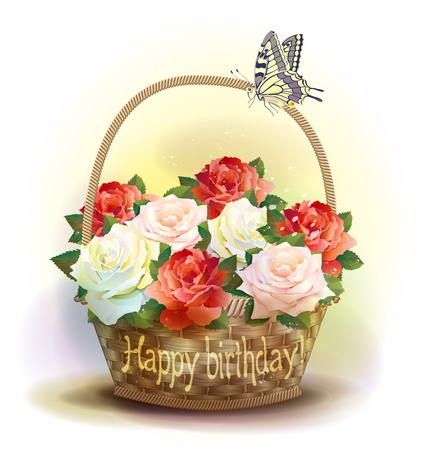 bast basket: Wicker basket with roses. Birthday card.