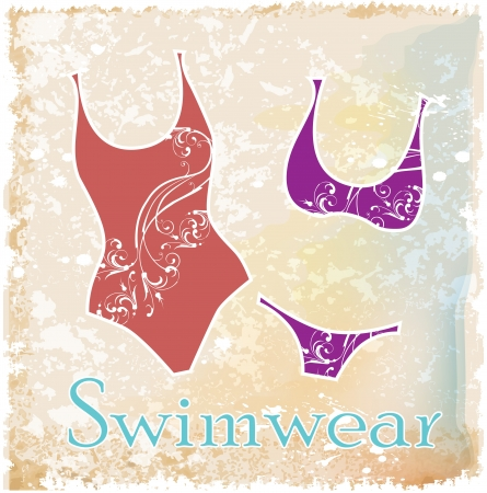 swim wear: silhouettes of bikini with floral design Illustration