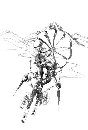montañas caricatura: boceto dibujado a mano de lo fantástico esquiador Vectores