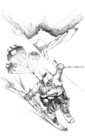 montañas caricatura: boceto dibujado a mano del esquiador divertido