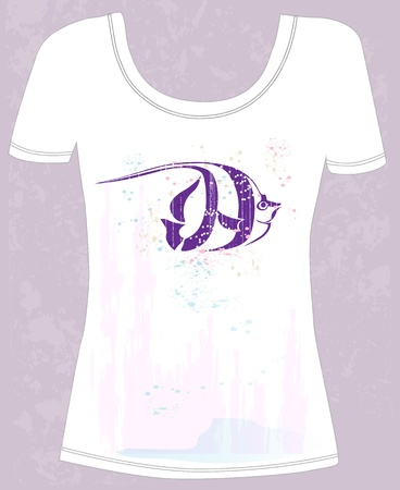 t-shirt with abstract fish Vector