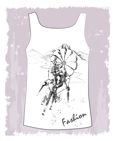 slalom: shirt with hand drawn  sketch of the fantastic skier