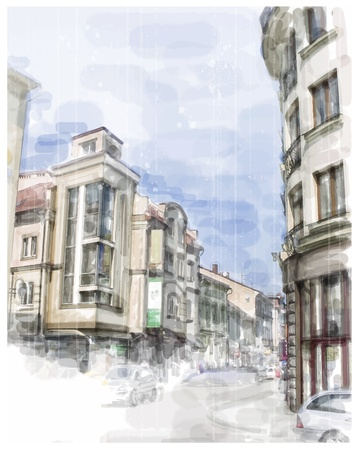 Illustration of city street  Watercolor style  Illustration