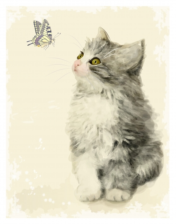Vintage greeting card with fluffy kitten and butterfly   Imitation of Chinese painting  Watercolor style