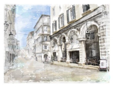 corfu: Illustration of city street. Watercolor style. Illustration