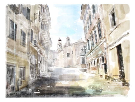 architectural drawings: Illustration of the ancient road leading to the Church  Watercolor