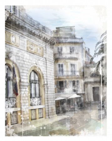 picturesque: Illustration of city street  Watercolor style