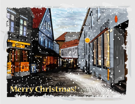 Illustration of snowy street. Christmas greeting card. Vector