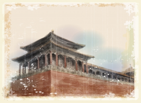 house drawing: forbidden city in beijing, China