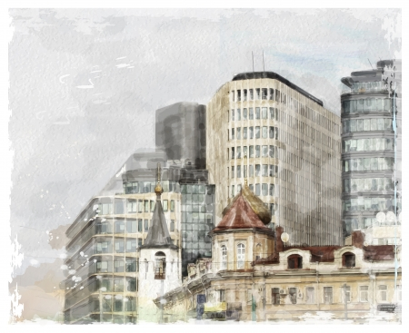 historical building: watercolor illustration of city scape Illustration