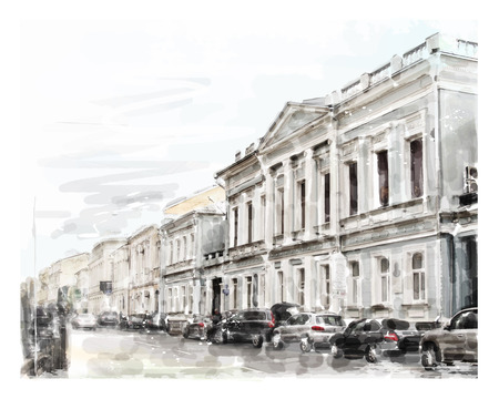 architectural drawing: watercolor illustration of city scape Illustration