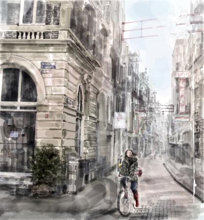 Illustratie van de stad straat Meisje rijden op de fiets stijl van de waterverf