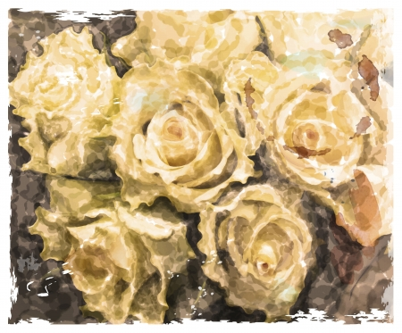 gele rozen: Vintage aquarel achtergrond met gele rozen
