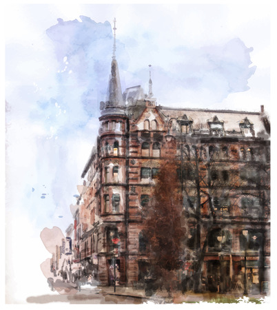 architectural heritage: watercolor illustration of city scape  Illustration