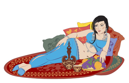 beautiful Eastern woman lying on the carpet Illustration