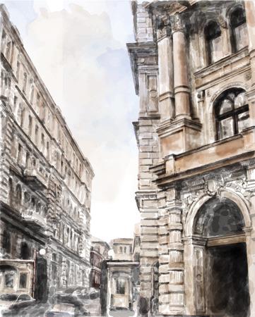 aquarel illustratie van de stad scape Vector Illustratie