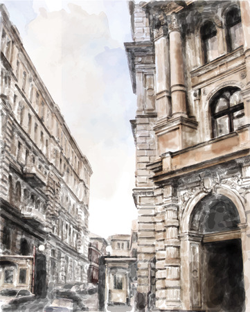 scape: watercolor illustration of city scape Illustration