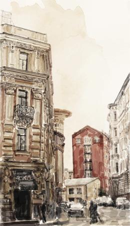 都市景観の水彩画のイラスト