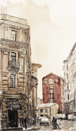 ancient: watercolor illustration of city scape Illustration