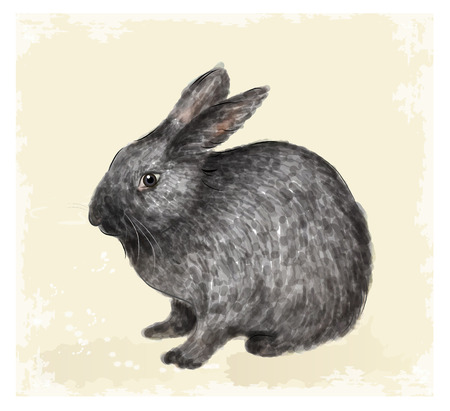 Ostern: Vintage Easter  greeting card with bunny.  Watercolor style.