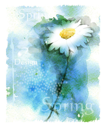 watercolor background with chamomile Illustration