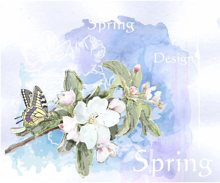 cherry blossoms in full bloom  and butterfly Vector