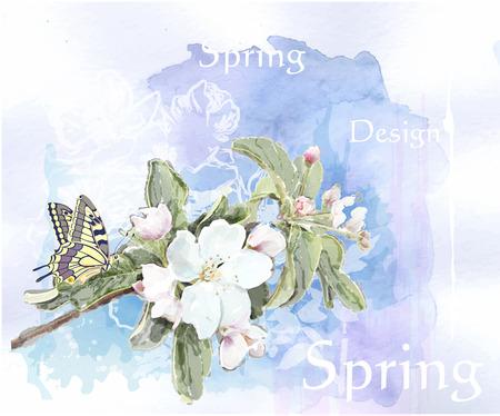 flor de durazno: flores de cerezo en flor y la mariposa