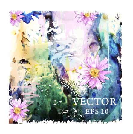 floriculture: abstract watercolor background with flowers