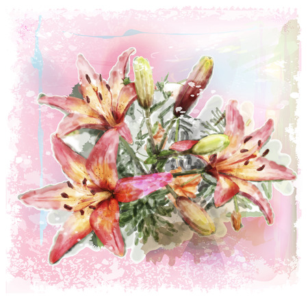 watercolor illustration of bouquet of lilies Vector
