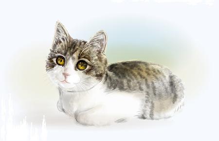 aquarelle: Lying  kitten. Watercolor style. Illustration