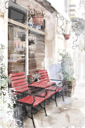 도시 풍경의 수채화 그림