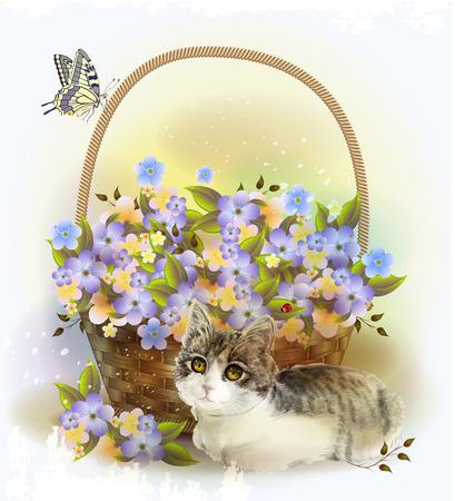 cartoline vittoriane: gattino e il cesto con fiori viola