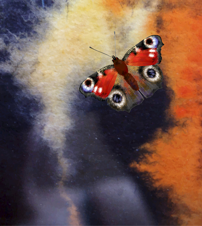 aquarelle: abstract watercolor background  with butterfly Illustration