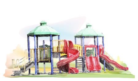 Waterverfschets van kinderspeeltuin