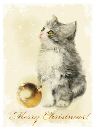 Christmas card  with fluffy kitten and golden ball. Vintage style. Vector