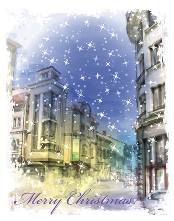 Christmas card  with illustration of city street.  Watercolor style. Vector